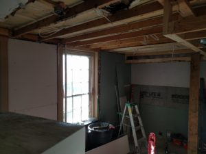 Walls partially finished.